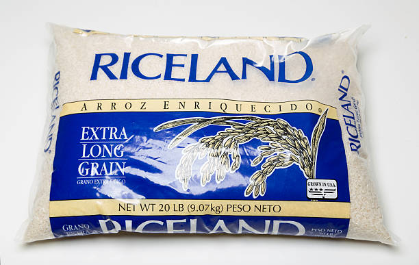 Miami, USA - March 30, 2016: Riceland extra long grain plastic 20 LB bag. Riceland brand is owned by Riceland Foods, Inc.