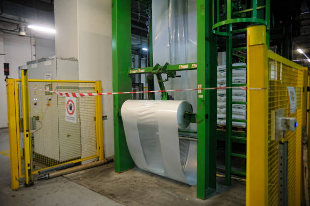 Tobolsk, Russia - July 15. 2016: Sibur company. Polymer plant. Gas-chemical complex on polypropylene production. The machine on packing of finished goods